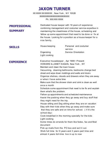 Executive housekeeper resume sample New York