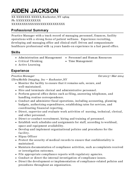 Practice Manager resume format New York