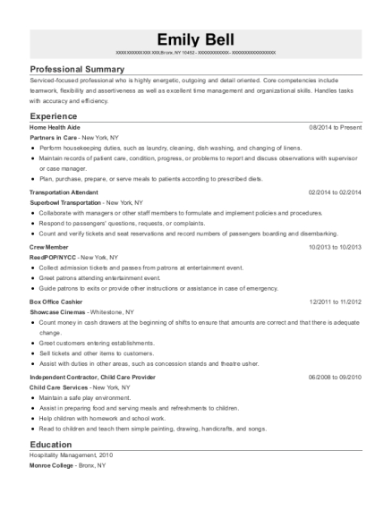 Home Health Aide resume sample New York