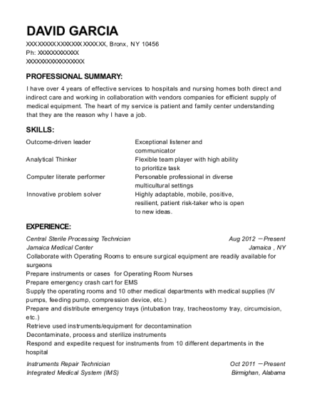 Central Sterile Processing Technician resume example New York