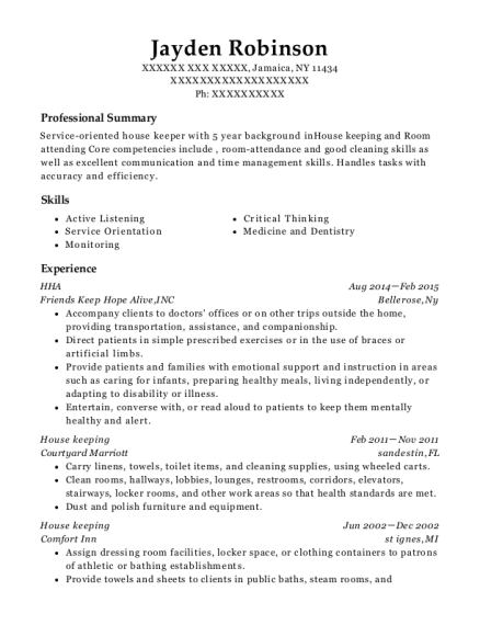 HHA resume sample New York