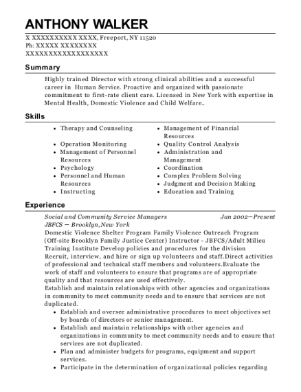 Social and Community Service Managers resume template New York