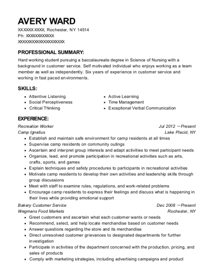 Recreation Worker resume example New York