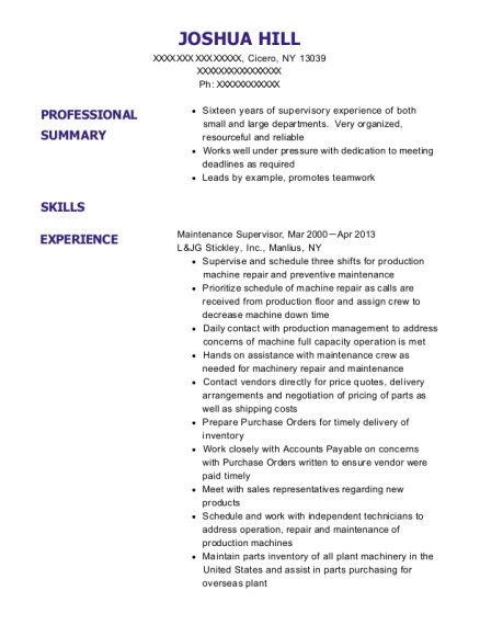 Maintenance Supervisor resume sample New York