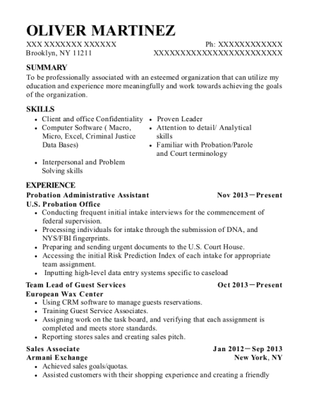 Probation Administrative Assistant resume sample New York