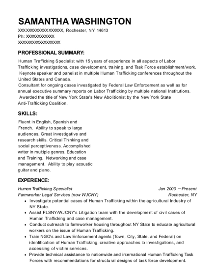 Human Trafficking Specialist resume example New York