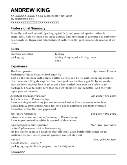 Machine operator resume format New York