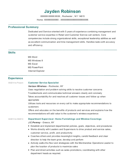 Customer Service Specialist resume template New York
