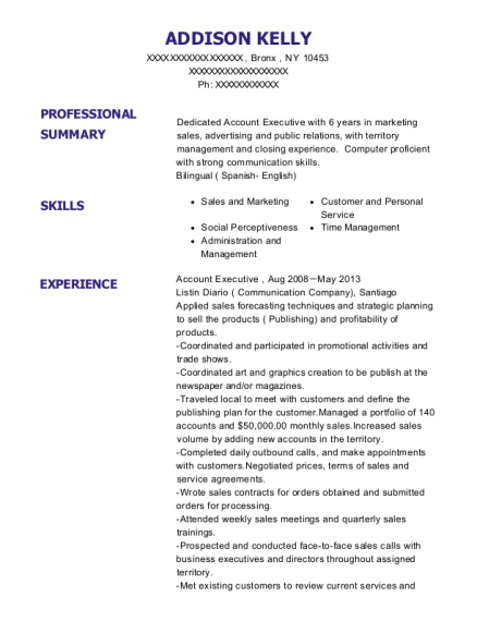 Account Executive resume format New York