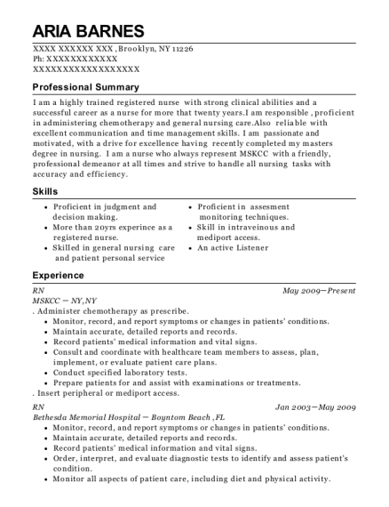 RN resume template New York