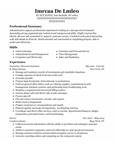 Executive resume example New York