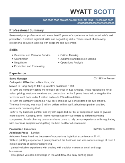 Sales Manager resume format New York