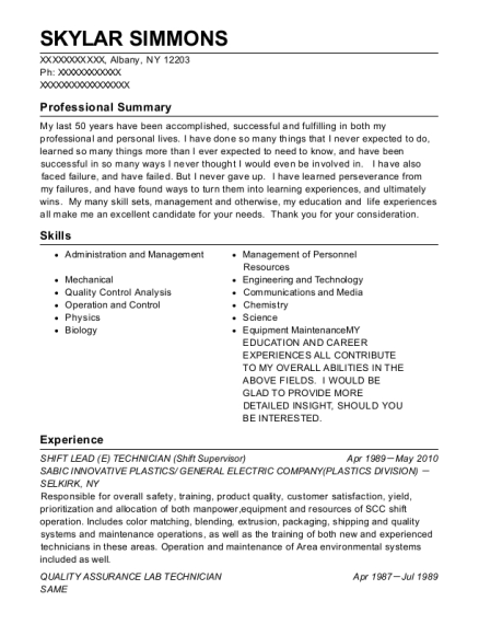 SHIFT LEAD TECHNICIAN resume example New York