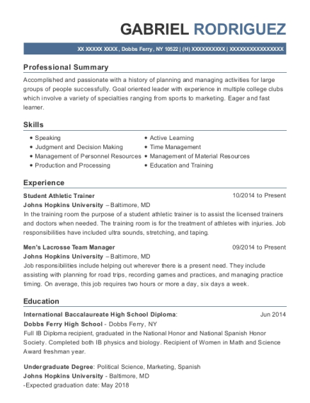 Student Athletic Trainer resume sample New York