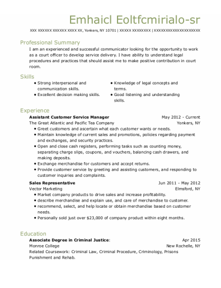 Assistant Customer Service Manager resume sample New York