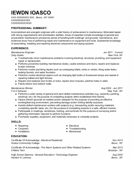 Maintenance Engineer resume template New York