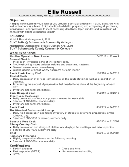 Machine Operator resume sample New York