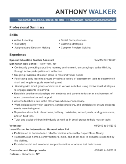 Special Education Teacher Assistant resume example New York