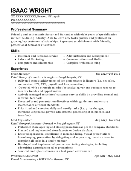 Store Manager resume sample New York