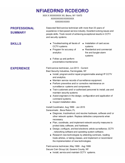 Field Service Technician resume sample New York