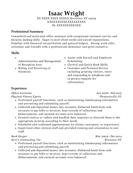 Office Assistant resume format New York