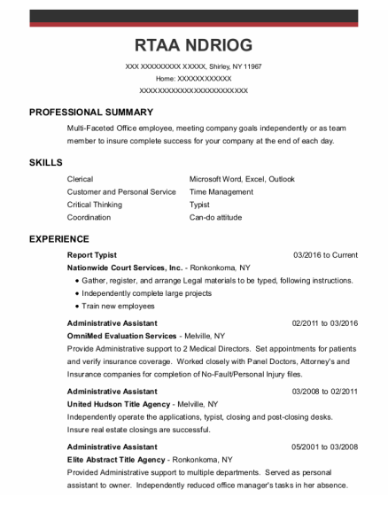 Administrative Assistant resume format New York