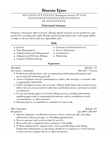 Key Carrier resume template New York