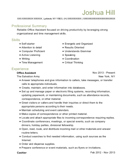 Office Assistant resume template New York