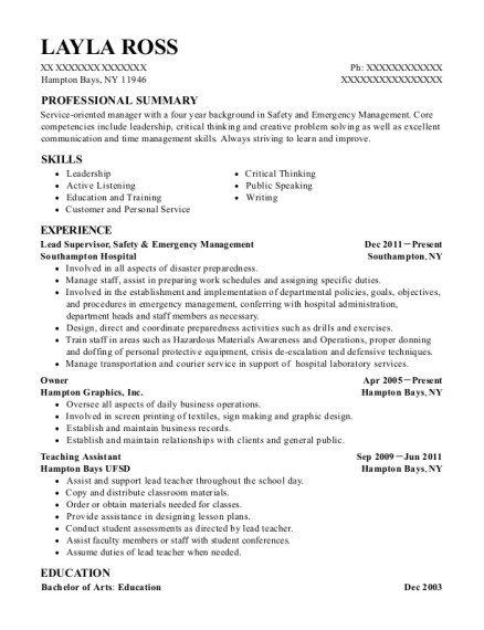 Lead Supervisor resume format New York
