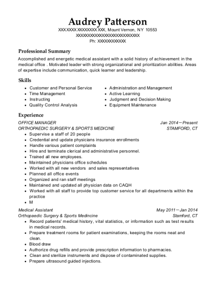 Office Manager resume template New York