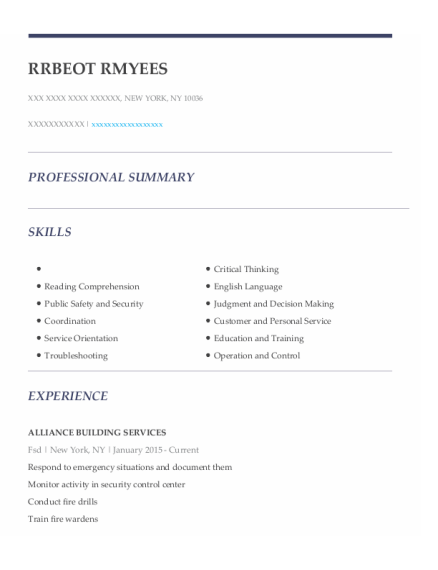 Fire Safety Director resume template New York