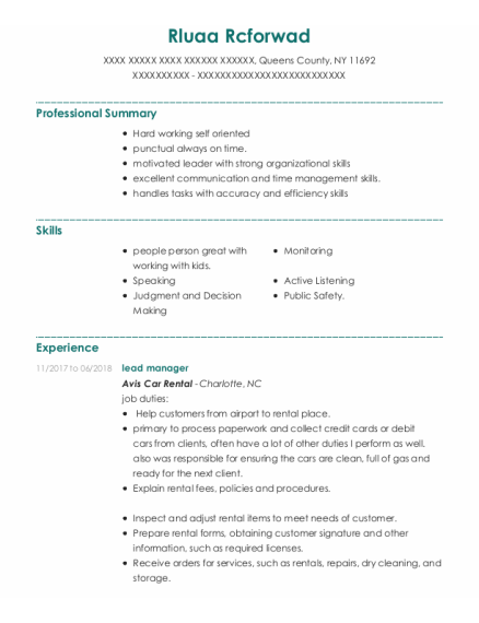Lead Manager resume sample New York