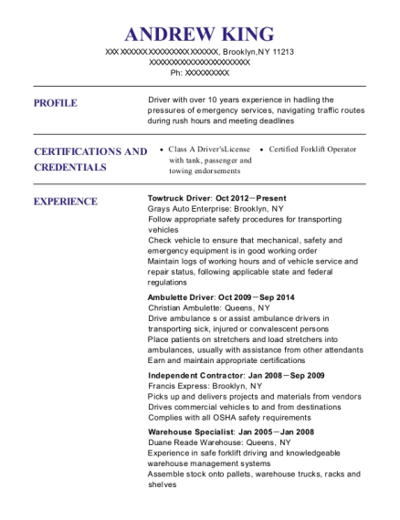 Towtruck Driver resume example New York