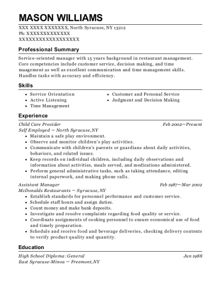 Child Care Provider resume example New York