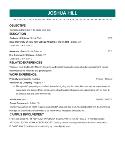 Property Maintenance Forman resume example New York