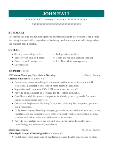 ICF Nurse Manager resume template New York
