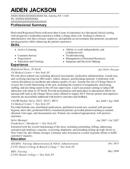Registered Nurse resume template New York