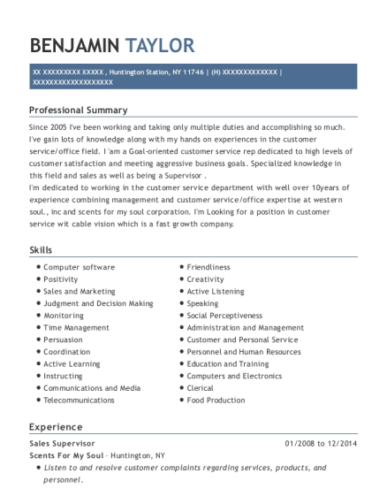 Sales Supervisor resume sample New York
