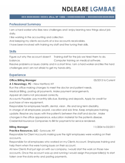 Office resume example New York