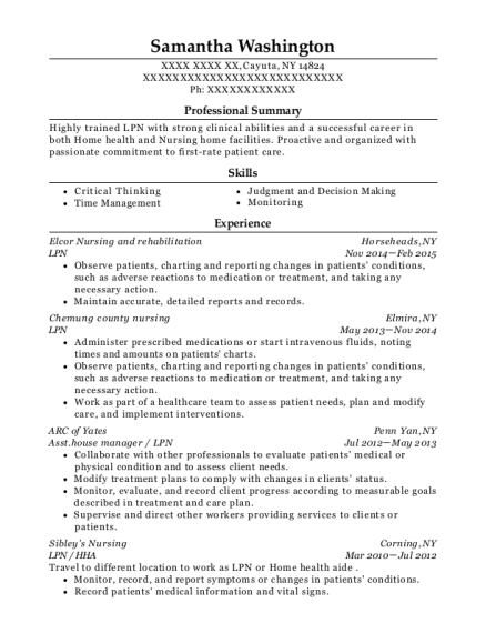 LPN resume sample New York