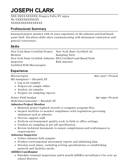 Microscropist resume example New York