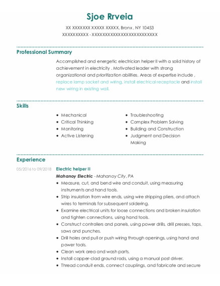 Building Maintenance resume template New York