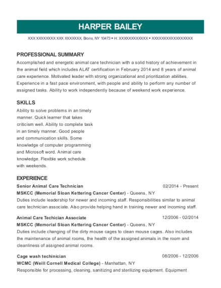 Senior Animal Care Technician resume format New York