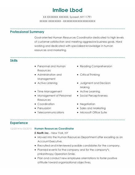 Human Resources Coordinator resume template New York