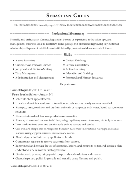 Cosmetologist resume sample New York