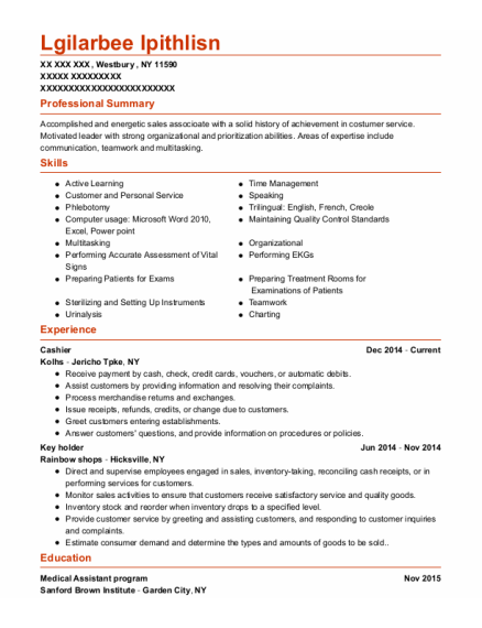 Cashier resume template New York