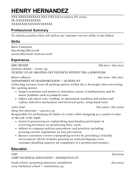 MRI DRIVER resume example New York