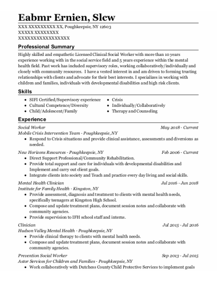 Social Worker resume template New York
