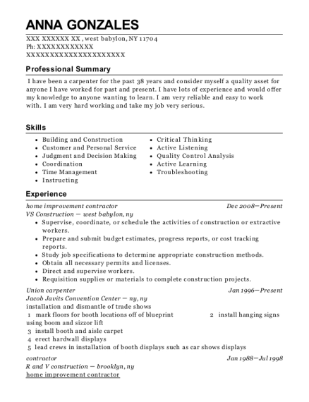 home improvement contractor resume format New York