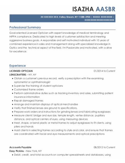 LICENSED OPTICIAN resume sample New York